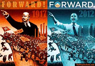 Campaign slogan Forward - Obama like Lenin funny satire