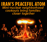 Iran's peaceful atom cartoon: Mini-nuclear neighborhood cookout, families together