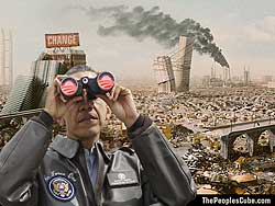 Obama with Binoculars parody funy cartoon