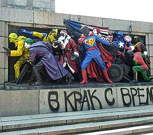 Soviet soldiers monument repainted as superheroes in Bulgaria