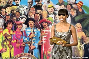 Michelle Obama at the Oscars with Sgt. Pepper's Band cartoon