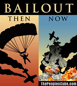 Bailout -= then and now - funny satirical cartoon