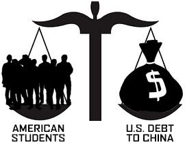 Obama sends US Students to China as Loan Security cartoon